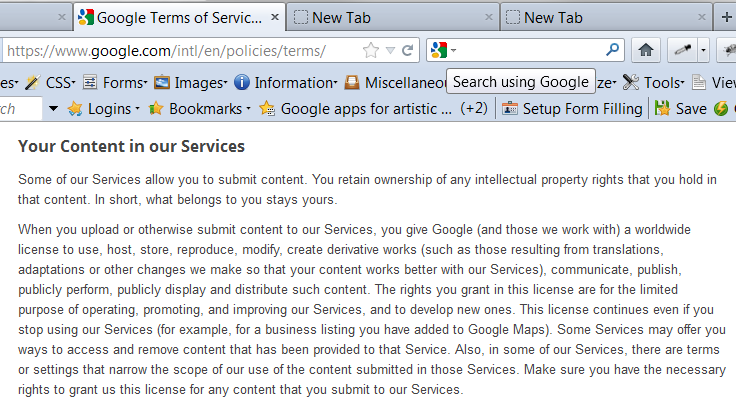 Google Drive Terms of Service Screen Shot